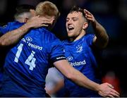 23 October 2020; Liam Turner of Leinster, right, congratulates team-mate Tommy O'Brien on scoring their side's fourth try during the Guinness PRO14 match between Leinster and Zebre at the RDS Arena in Dublin. Photo by Brendan Moran/Sportsfile