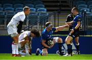 23 October 2020; Dan Leavy celebrates a try which was subsequently disallowed, with Leinster team-mate Hugh O'Sullivan, right, during the Guinness PRO14 match between Leinster and Zebre at the RDS Arena in Dublin. Photo by Ramsey Cardy/Sportsfile