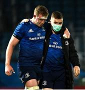23 October 2020; Dan Leavy, left, and Luke McGrath of Leinster during the Guinness PRO14 match between Leinster and Zebre at the RDS Arena in Dublin. Photo by Ramsey Cardy/Sportsfile