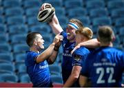 23 October 2020; Dan Leavy of Leinster, centre, is congratulated by team-mates Hugh O'Sullivan, left, and Tommy O'Brien after scoring a try, which was subsequently disallowed by the TMO, during the Guinness PRO14 match between Leinster and Zebre at the RDS Arena in Dublin. Photo by Brendan Moran/Sportsfile