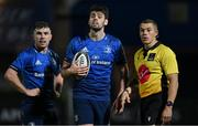23 October 2020; Harry Byrne of Leinster, with Luke McGrath and referee Craig Evansduring the Guinness PRO14 match between Leinster and Zebre at the RDS Arena in Dublin. Photo by Brendan Moran/Sportsfile
