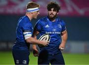 23 October 2020; James Tracy, left, and Michael Milne of Leinster during the Guinness PRO14 match between Leinster and Zebre at the RDS Arena in Dublin. Photo by Brendan Moran/Sportsfile