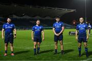 23 October 2020; Leinster debutants, from left, Ciaran Parker, Liam Turner, Dan Sheehan and Michael Silvester following the Guinness PRO14 match between Leinster and Zebre at the RDS Arena in Dublin. Photo by Ramsey Cardy/Sportsfile