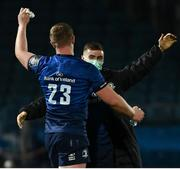 23 October 2020; Luke McGrath, right, and Dan Leavy of Leinster following the Guinness PRO14 match between Leinster and Zebre at the RDS Arena in Dublin. Photo by Ramsey Cardy/Sportsfile