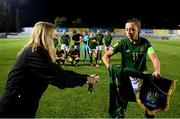 23 October 2020; Republic of Ireland captain Katie McCabe with Republic of Ireland equipment officer Orla Haran prior to the UEFA Women's EURO 2022 Qualifier match between Ukraine and Republic of Ireland at the Obolon Arena in Kyiv, Ukraine. Photo by Stephen McCarthy/Sportsfile