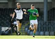 24 October 2020; Iain Corbett of Limerick in action against Seán Murray of Sligo during the Allianz Football League Division 4 Round 7 match between Sligo and Limerick at Markievicz Park in Sligo. Photo by Harry Murphy/Sportsfile