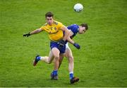 24 October 2020; Seán Mullooly of Roscommon in action against Gearóid Brady of Cavan during the Allianz Football League Division 2 Round 7 match between Cavan and Roscommon at Kingspan Breffni Park in Cavan. Photo by Daire Brennan/Sportsfile