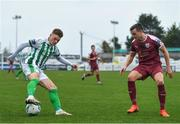 24 October 2020; Paul Keegan of Bray Wanderers in action against Marc Ludden of Galway United during the SSE Airtricity League First Division match between Bray Wanderers and Galway United at Carlisle Grounds in Bray, Wicklow. Photo by Eóin Noonan/Sportsfile
