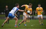 24 October 2020; Peter Healy of Antrim in action against Conor Murray of Waterford during the Allianz Football League Division 4 Round 7 match between Antrim and Waterford at McGeough Park in Haggardstown, Louth. Photo by David Fitzgerald/Sportsfile