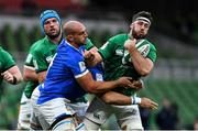 24 October 2020; Caelan Doris of Ireland is tackled by Abraham Steyn of Italy during the Guinness Six Nations Rugby Championship match between Ireland and Italy at the Aviva Stadium in Dublin. Photo by Brendan Moran/Sportsfile