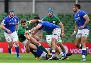 24 October 2020; Garry Ringrose of Ireland is tackled by Carlo Canna and Marco Lazzaroni of Italy during the Guinness Six Nations Rugby Championship match between Ireland and Italy at the Aviva Stadium in Dublin. Photo by Brendan Moran/Sportsfile