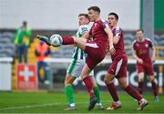 24 October 2020; Killian Brouder of Galway United in action against Joe Doyle of Bray Wanderers during the SSE Airtricity League First Division match between Bray Wanderers and Galway United at Carlisle Grounds in Bray, Wicklow. Photo by Eóin Noonan/Sportsfile