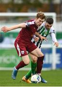 24 October 2020; Jack Lynch of Galway United in action against Ryan Graydon of Bray Wanderers during the SSE Airtricity League First Division match between Bray Wanderers and Galway United at Carlisle Grounds in Bray, Wicklow. Photo by Eóin Noonan/Sportsfile