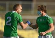 24 October 2020; Peter Nash, right, and Sean O'Dea of Limerick celebrate following the Allianz Football League Division 4 Round 7 match between Sligo and Limerick at Markievicz Park in Sligo. Photo by Harry Murphy/Sportsfile