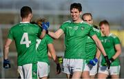 24 October 2020; Michael Donovan, right, and Paul Maher of Limerick celebrate following the Allianz Football League Division 4 Round 7 match between Sligo and Limerick at Markievicz Park in Sligo. Photo by Harry Murphy/Sportsfile