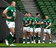 24 October 2020; Ireland players, from left, Hugo Keenan, Jonathan Sexton, Conor Murray and Andrew Conway celebrate a try during the Guinness Six Nations Rugby Championship match between Ireland and Italy at the Aviva Stadium in Dublin. Photo by Ramsey Cardy/Sportsfile