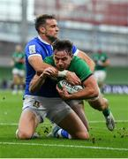 24 October 2020; Hugo Keenan of Ireland scores his second and side's third try despite the tackle of Edoardo Padovani of Italy during the Guinness Six Nations Rugby Championship match between Ireland and Italy at the Aviva Stadium in Dublin. Photo by Brendan Moran/Sportsfile
