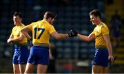 24 October 2020; Ultan Harney, left, and Fergal Lennon of Roscommon celebrate after the Allianz Football League Division 2 Round 7 match between Cavan and Roscommon at Kingspan Breffni Park in Cavan. Photo by Daire Brennan/Sportsfile