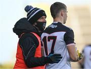 24 October 2020; Sligo manager Paul Taylor speaks with Brian Cox of Sligo during the Allianz Football League Division 4 Round 7 match between Sligo and Limerick at Markievicz Park in Sligo. Photo by Harry Murphy/Sportsfile