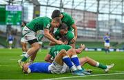 24 October 2020; Ireland players Andrew Conway, Conor Murray and Jonathan Sexton congratulate Hugo Keenan after he scored their side's third try during the Guinness Six Nations Rugby Championship match between Ireland and Italy at the Aviva Stadium in Dublin. Photo by Brendan Moran/Sportsfile