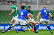 24 October 2020; Caelan Doris of Ireland is tackled by Sebastian Negri of Italy during the Guinness Six Nations Rugby Championship match between Ireland and Italy at the Aviva Stadium in Dublin. Photo by Brendan Moran/Sportsfile