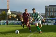 24 October 2020; Ryan Graydon of Bray Wanderers in action against Jack Lynch of Galway United during the SSE Airtricity League First Division match between Bray Wanderers and Galway United at Carlisle Grounds in Bray, Wicklow. Photo by Eóin Noonan/Sportsfile