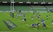 24 October 2020; Hugo Keenan of Ireland scores his first and his side's second try in front of an empty stadium during the Guinness Six Nations Rugby Championship match between Ireland and Italy at the Aviva Stadium in Dublin. Due to current restrictions laid down by the Irish government to prevent the spread of coronavirus and to adhere to social distancing regulations, all sports events in Ireland are currently held behind closed doors. Photo by Brendan Moran/Sportsfile