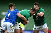 24 October 2020; Andrew Porter of Ireland is tackled by Marco Lazzaroni of Italy during the Guinness Six Nations Rugby Championship match between Ireland and Italy at the Aviva Stadium in Dublin. Photo by Ramsey Cardy/Sportsfile