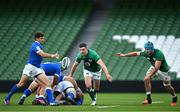 24 October 2020; Marcello Violi of Italy in action against Jonathan Sexton, left, and Will Connors of Ireland during the Guinness Six Nations Rugby Championship match between Ireland and Italy at the Aviva Stadium in Dublin. Photo by Ramsey Cardy/Sportsfile