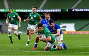 24 October 2020; Jonathan Sexton of Ireland dives over to score his side's fifth try during the Guinness Six Nations Rugby Championship match between Ireland and Italy at the Aviva Stadium in Dublin. Photo by Ramsey Cardy/Sportsfile