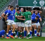 24 October 2020; Jonathan Sexton of Ireland is congratulated by team-mates after scoring his side's fifth try during the Guinness Six Nations Rugby Championship match between Ireland and Italy at the Aviva Stadium in Dublin. Photo by Brendan Moran/Sportsfile