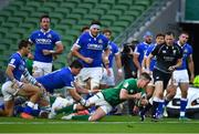 24 October 2020; Jonathan Sexton of Ireland scores his side's fifth try during the Guinness Six Nations Rugby Championship match between Ireland and Italy at the Aviva Stadium in Dublin. Photo by Brendan Moran/Sportsfile