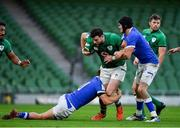24 October 2020; Robbie Henshaw of Ireland is tackled by Paolo Garbisi and Carlo Canna of Italy during the Guinness Six Nations Rugby Championship match between Ireland and Italy at the Aviva Stadium in Dublin. Photo by Brendan Moran/Sportsfile