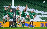 24 October 2020; Ireland players, from left, Jacob Stockdale, Ross Byrne and Hugo Keenan charge down a last second try conversion by Italy during the Guinness Six Nations Rugby Championship match between Ireland and Italy at the Aviva Stadium in Dublin. Photo by Brendan Moran/Sportsfile