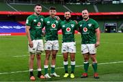 24 October 2020; Ireland debutants, from left, Will Connors, Hugo Keenan, Jamison Gibson-Park and Ed Byrne following the Guinness Six Nations Rugby Championship match between Ireland and Italy at the Aviva Stadium in Dublin. Photo by Ramsey Cardy/Sportsfile