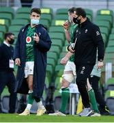 24 October 2020; Conor Murray, left, and Ireland head coach Andy Farrell after the Guinness Six Nations Rugby Championship match between Ireland and Italy at the Aviva Stadium in Dublin. Due to current restrictions laid down by the Irish government to prevent the spread of coronavirus and to adhere to social distancing regulations, all sports events in Ireland are currently held behind closed doors. Photo by Brendan Moran/Sportsfile