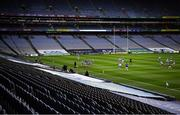 24 October 2020; Action proceeds in front of empty stands during the Leinster GAA Hurling Senior Championship Quarter-Final match between Laois and Dublin at Croke Park in Dublin. Photo by Ray McManus/Sportsfile