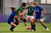 24 October 2020; Sene Naoupu of Ireland is tackled by Veronica Madia of Italy during the Women's Six Nations Rugby Championship match between Ireland and Italy at Energia Park in Dublin. Due to current restrictions laid down by the Irish government to prevent the spread of coronavirus and to adhere to social distancing regulations, all sports events in Ireland are currently held behind closed doors. Photo by Ramsey Cardy/Sportsfile