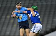 24 October 2020; Danny Sutcliffe of Dublin is tackled by Ciarán McEvoy of Laois during the Leinster GAA Hurling Senior Championship Quarter-Final match between Laois and Dublin at Croke Park in Dublin. Photo by Piaras Ó Mídheach/Sportsfile
