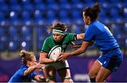 24 October 2020; Ciara Griffin of Ireland is tackled by Veronica Madia, left, and Manuela Furlan of Italy during the Women's Six Nations Rugby Championship match between Ireland and Italy at Energia Park in Dublin. Due to current restrictions laid down by the Irish government to prevent the spread of coronavirus and to adhere to social distancing regulations, all sports events in Ireland are currently held behind closed doors. Photo by Ramsey Cardy/Sportsfile