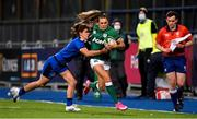 24 October 2020; Béibhinn Parsons of Ireland in action against Aura Muzzo of Italy during the Women's Six Nations Rugby Championship match between Ireland and Italy at Energia Park in Dublin. Due to current restrictions laid down by the Irish government to prevent the spread of coronavirus and to adhere to social distancing regulations, all sports events in Ireland are currently held behind closed doors. Photo by Brendan Moran/Sportsfile