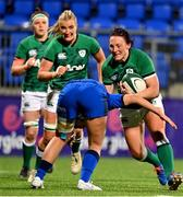 24 October 2020; Lindsay Peat of Ireland is tackled by Beatrice Rigoni of Italy during the Women's Six Nations Rugby Championship match between Ireland and Italy at Energia Park in Dublin. Due to current restrictions laid down by the Irish government to prevent the spread of coronavirus and to adhere to social distancing regulations, all sports events in Ireland are currently held behind closed doors. Photo by Brendan Moran/Sportsfile