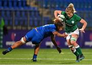 24 October 2020; Claire Molloy of Ireland steps inside Sara Tounesi of Italy during the Women's Six Nations Rugby Championship match between Ireland and Italy at Energia Park in Dublin. Due to current restrictions laid down by the Irish government to prevent the spread of coronavirus and to adhere to social distancing regulations, all sports events in Ireland are currently held behind closed doors. Photo by Brendan Moran/Sportsfile