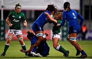 24 October 2020; Giada Franco of Italy is tackled by Kathryn Dane of Ireland during the Women's Six Nations Rugby Championship match between Ireland and Italy at Energia Park in Dublin. Due to current restrictions laid down by the Irish government to prevent the spread of coronavirus and to adhere to social distancing regulations, all sports events in Ireland are currently held behind closed doors. Photo by Ramsey Cardy/Sportsfile