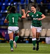 24 October 2020; Katie O'Dwyer, right, replaces Lindsay Peat of Ireland during the Women's Six Nations Rugby Championship match between Ireland and Italy at Energia Park in Dublin. Due to current restrictions laid down by the Irish government to prevent the spread of coronavirus and to adhere to social distancing regulations, all sports events in Ireland are currently held behind closed doors. Photo by Ramsey Cardy/Sportsfile