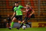 24 October 2020; Keith Ward of Bohemians in action against Stephen Folan of Finn Harps during the SSE Airtricity League Premier Division match between Bohemians and Finn Harps at Dalymount Park in Dublin. Photo by Eóin Noonan/Sportsfile