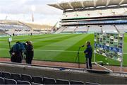 24 October 2020; Marcus Ó Buachalla of Sky Sports interviews Dublin manager Mattie Kenny before the Leinster GAA Hurling Senior Championship Quarter-Final match between Laois and Dublin at Croke Park in Dublin. Photo by Piaras Ó Mídheach/Sportsfile
