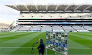24 October 2020; Dublin manager Mattie Kenny is interviewed by Sky Sports before the Leinster GAA Hurling Senior Championship Quarter-Final match between Laois and Dublin at Croke Park in Dublin. Photo by Piaras Ó Mídheach/Sportsfile