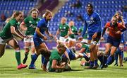 24 October 2020; Claire Molloy of Ireland scores her side's second try during the Women's Six Nations Rugby Championship match between Ireland and Italy at Energia Park in Dublin. Due to current restrictions laid down by the Irish government to prevent the spread of coronavirus and to adhere to social distancing regulations, all sports events in Ireland are currently held behind closed doors. Photo by Ramsey Cardy/Sportsfile