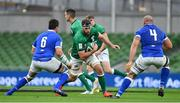24 October 2020; Caelan Doris of Ireland in action against Sebastian Negri, left, and Marco Lazzaroni during the Guinness Six Nations Rugby Championship match between Ireland and Italy at the Aviva Stadium in Dublin. Due to current restrictions laid down by the Irish government to prevent the spread of coronavirus and to adhere to social distancing regulations, all sports events in Ireland are currently held behind closed doors. Photo by Brendan Moran/Sportsfile